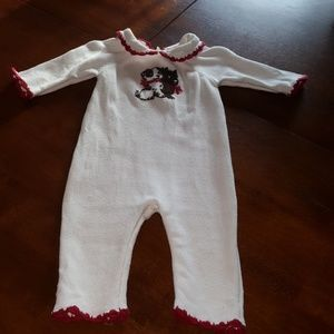 Janie & Jack White Layette with Puppies & Red Trim